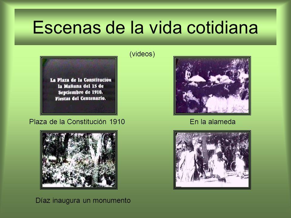 Escenas de la vida cotidiana Plaza de la Constitución 1910En la alameda Díaz inaugura un monumento (videos)