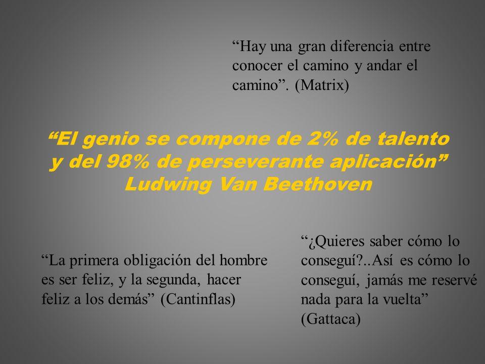 El genio se compone de 2% de talento y del 98% de perseverante aplicación Ludwing Van Beethoven La primera obligación del hombre es ser feliz, y la se
