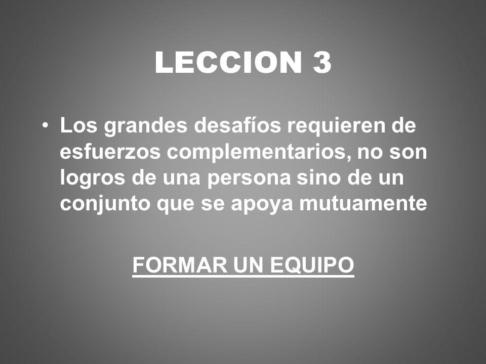 LECCION 3 Los grandes desafíos requieren de esfuerzos complementarios, no son logros de una persona sino de un conjunto que se apoya mutuamente FORMAR