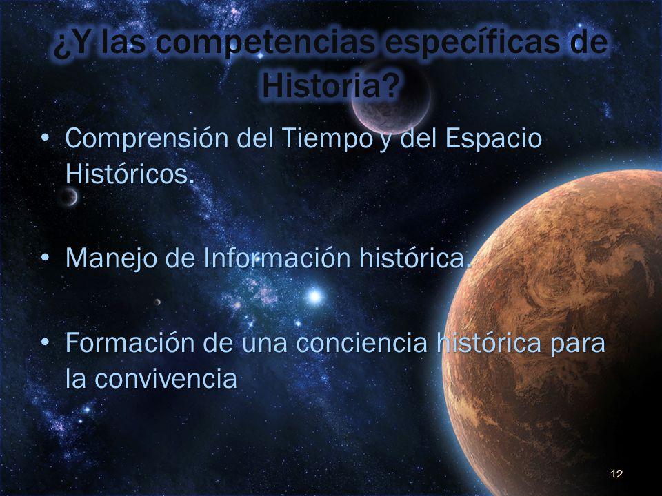 Comprensión del Tiempo y del Espacio Históricos. Comprensión del Tiempo y del Espacio Históricos. Manejo de Información histórica. Manejo de Informaci