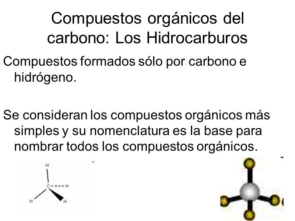 Compuestos orgánicos del carbono: Los Hidrocarburos Compuestos formados sólo por carbono e hidrógeno. Se consideran los compuestos orgánicos más simpl