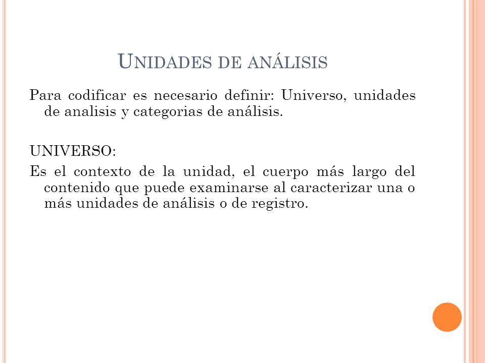 U NIDADES DE ANÁLISIS Para codificar es necesario definir: Universo, unidades de analisis y categorias de análisis. UNIVERSO: Es el contexto de la uni