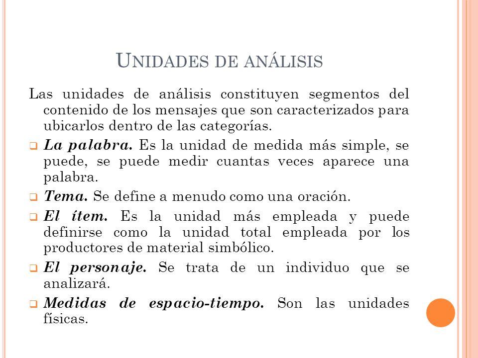 U NIDADES DE ANÁLISIS Las unidades de análisis constituyen segmentos del contenido de los mensajes que son caracterizados para ubicarlos dentro de las