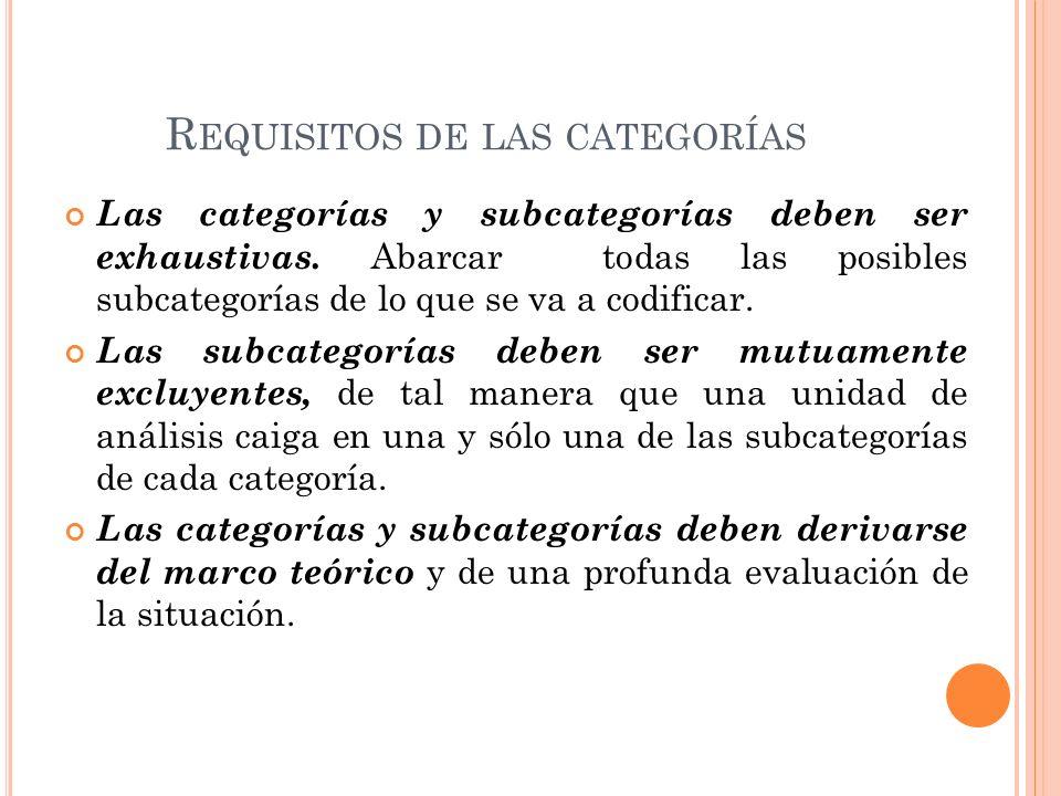 R EQUISITOS DE LAS CATEGORÍAS Las categorías y subcategorías deben ser exhaustivas. Abarcar todas las posibles subcategorías de lo que se va a codific