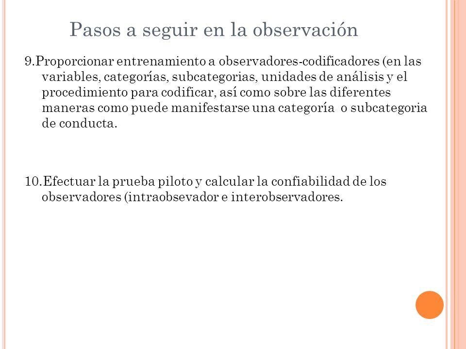Pasos a seguir en la observación 9.Proporcionar entrenamiento a observadores-codificadores (en las variables, categorías, subcategorias, unidades de a