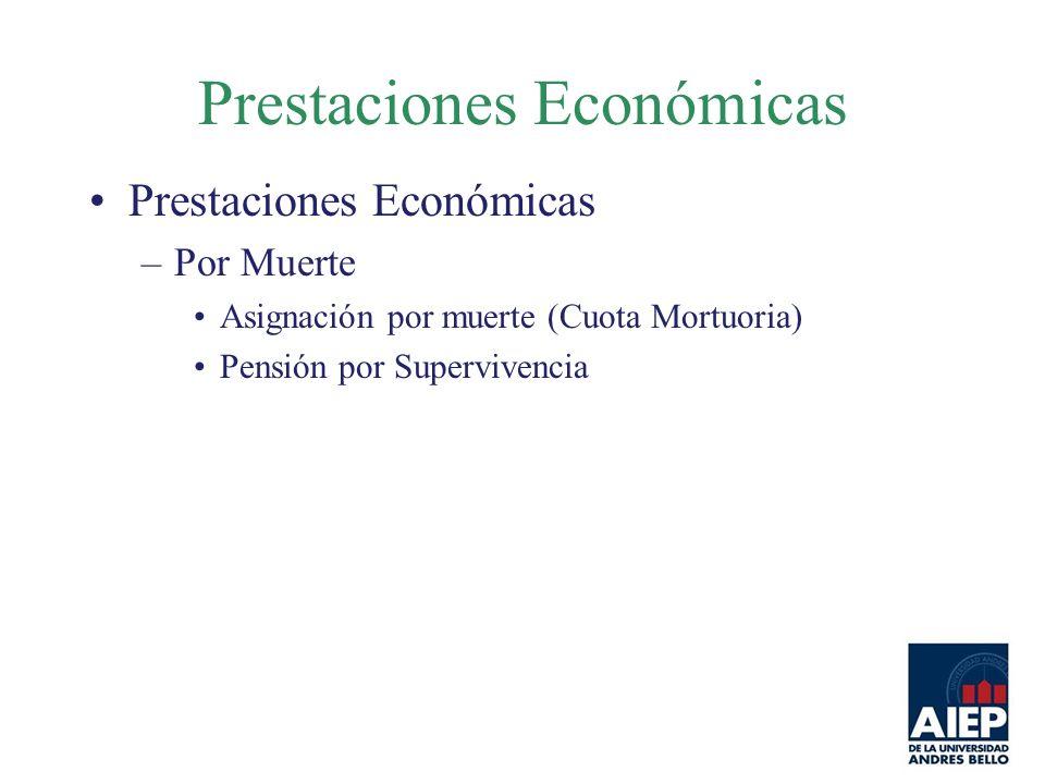 Prestaciones Económicas –Por Muerte Asignación por muerte (Cuota Mortuoria) Pensión por Supervivencia