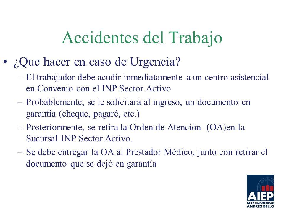 ¿Que hacer en caso de Urgencia? –El trabajador debe acudir inmediatamente a un centro asistencial en Convenio con el INP Sector Activo –Probablemente,