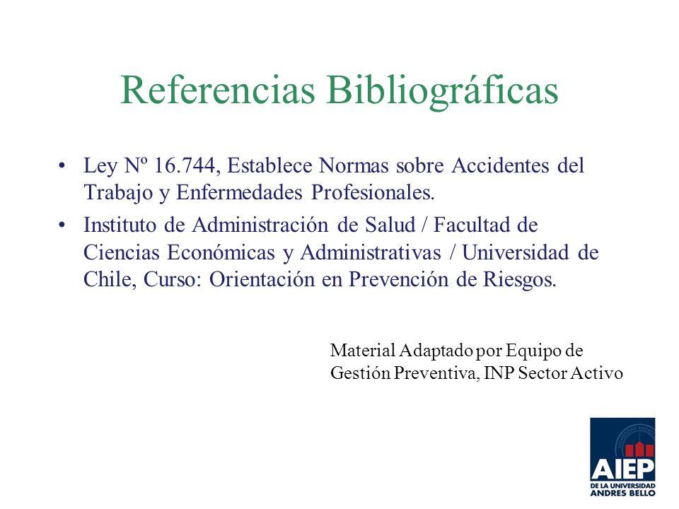 Referencias Bibliográficas Ley Nº 16.744, Establece Normas sobre Accidentes del Trabajo y Enfermedades Profesionales. Instituto de Administración de S