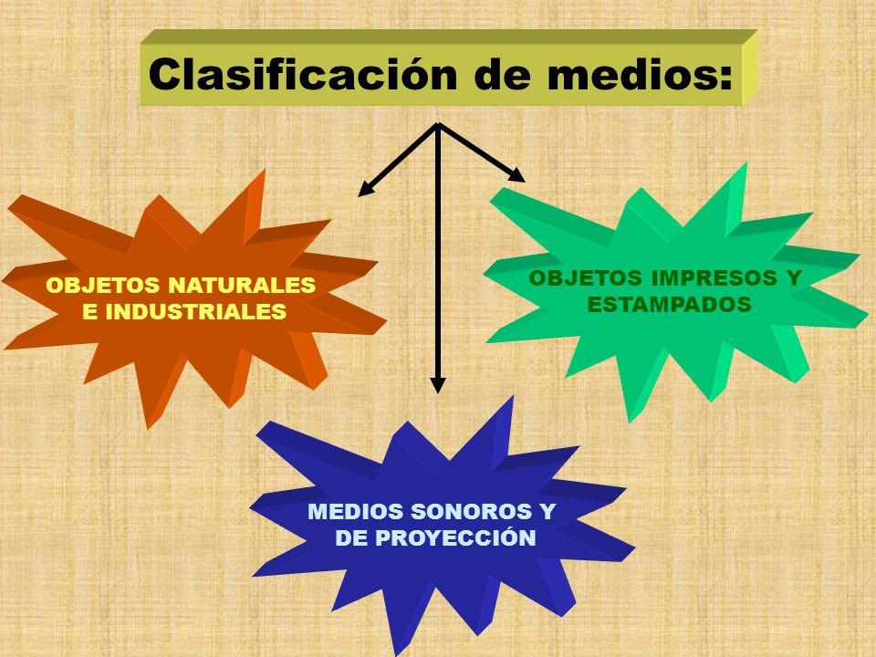 Clasificación de medios: OBJETOS NATURALES E INDUSTRIALES MEDIOS SONOROS Y DE PROYECCIÓN OBJETOS IMPRESOS Y ESTAMPADOS