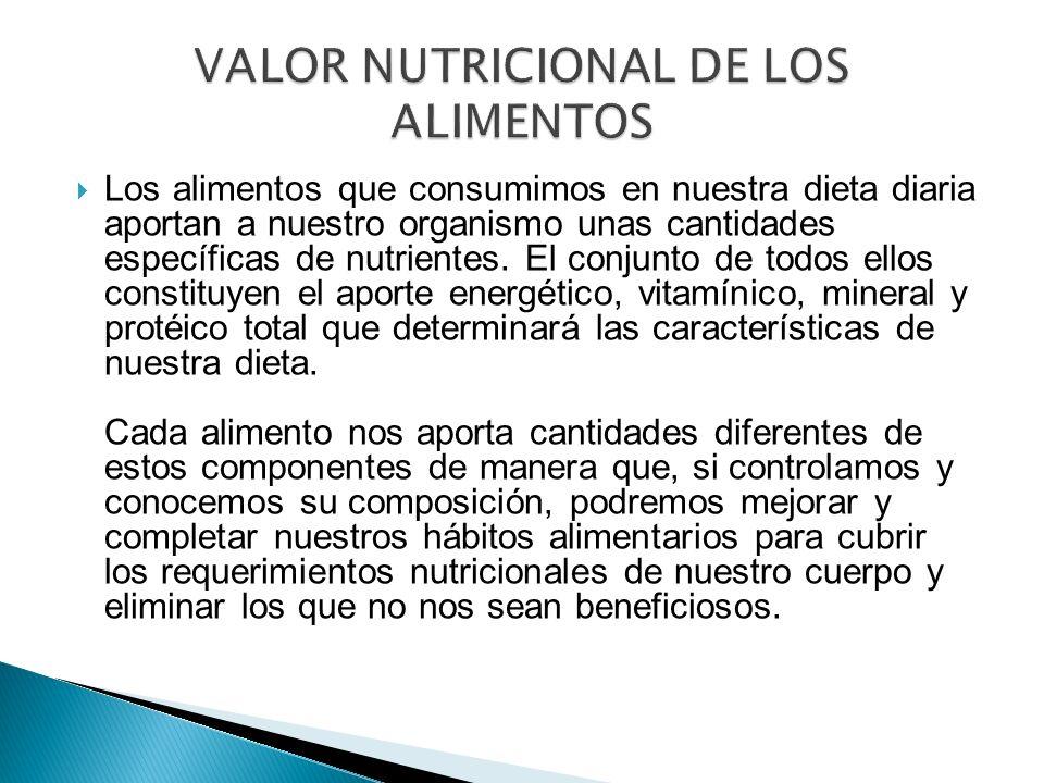 Los alimentos que consumimos en nuestra dieta diaria aportan a nuestro organismo unas cantidades específicas de nutrientes. El conjunto de todos ellos