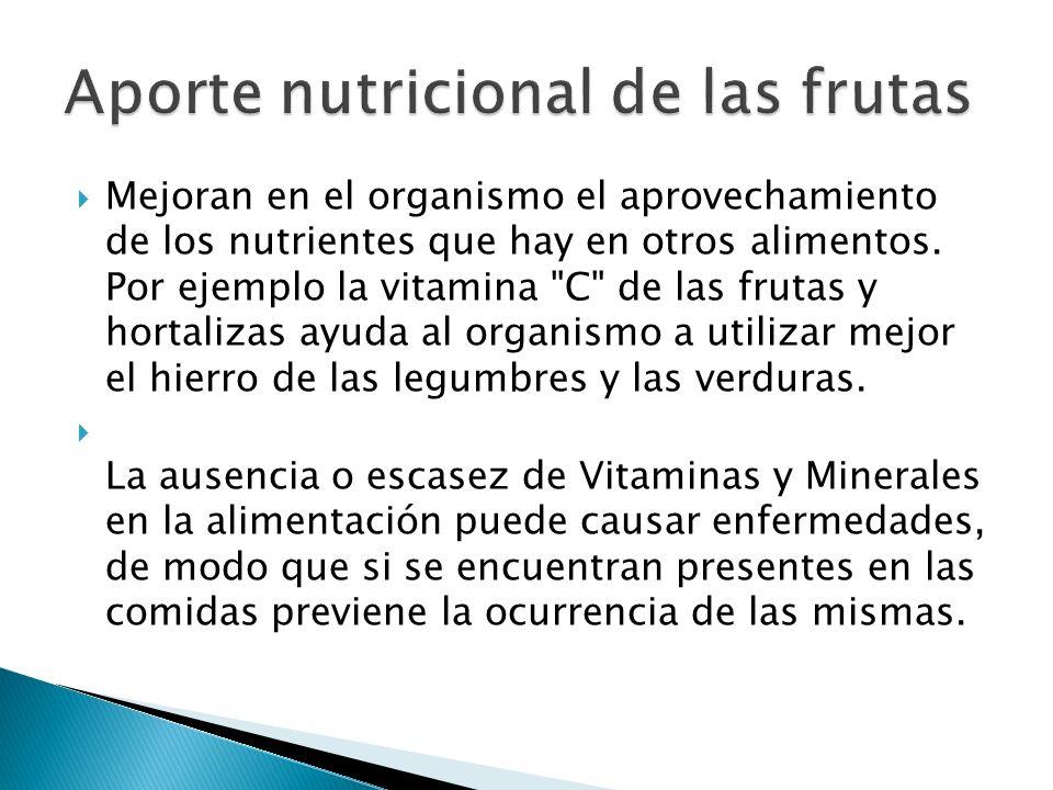 Mejoran en el organismo el aprovechamiento de los nutrientes que hay en otros alimentos. Por ejemplo la vitamina