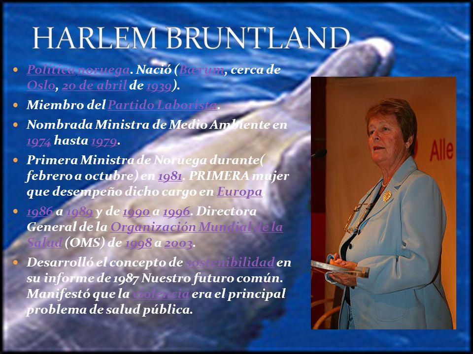 En 1983, por encargo del entonces Secretario General de la ONU, Pérez de Cuellar, organizó y dirigió la Comisión Mundial sobre Desarrollo y Medio Ambiente.