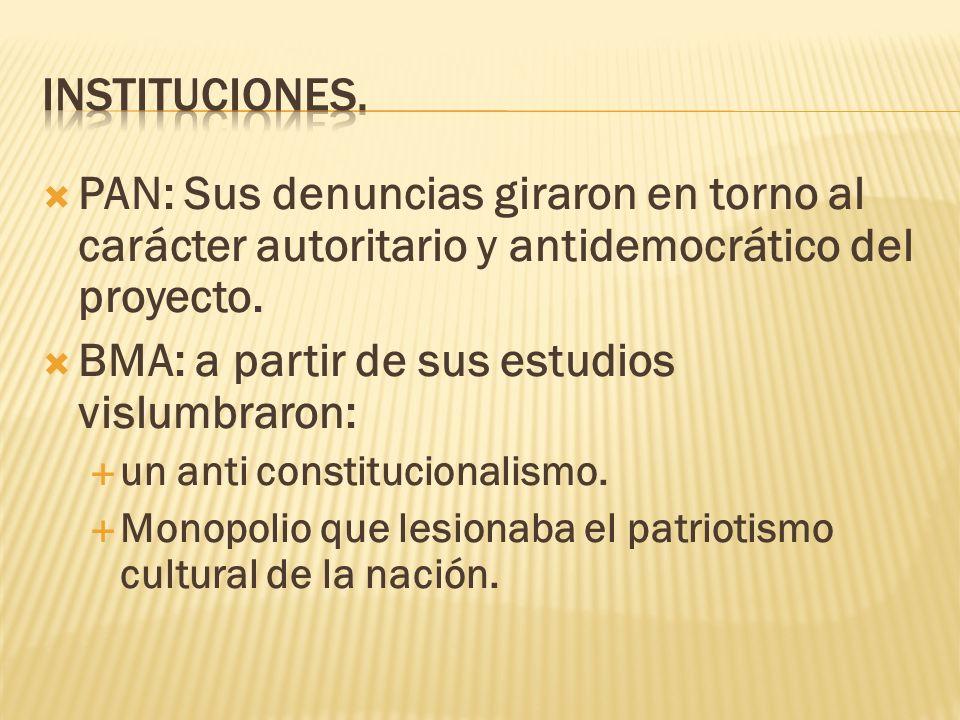 PAN: Sus denuncias giraron en torno al carácter autoritario y antidemocrático del proyecto. BMA: a partir de sus estudios vislumbraron: un anti consti