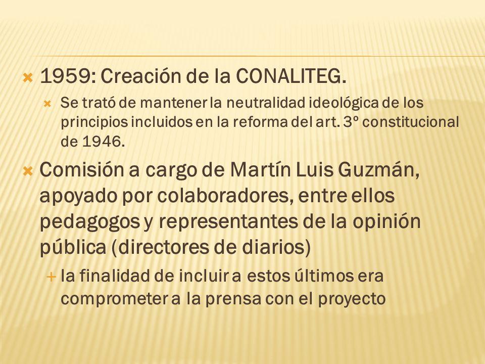 1959: Creación de la CONALITEG. Se trató de mantener la neutralidad ideológica de los principios incluidos en la reforma del art. 3º constitucional de