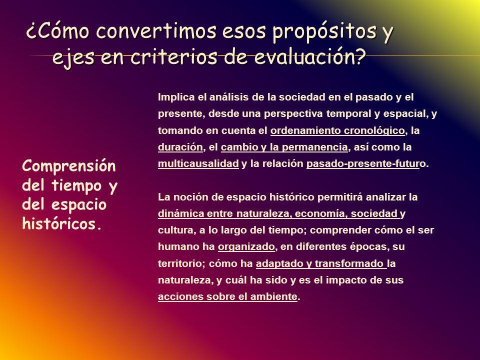 ¿Cómo convertimos esos propósitos y ejes en criterios de evaluación? Comprensión del tiempo y del espacio históricos. Implica el análisis de la socied