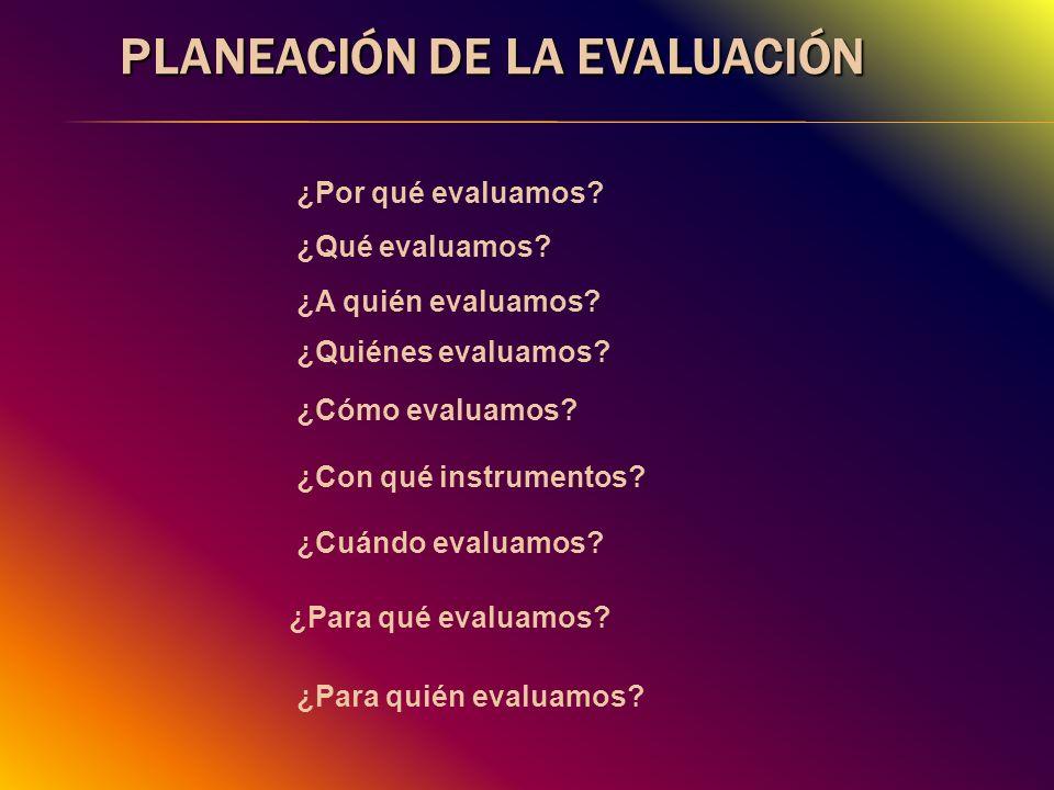 PLANEACIÓN DE LA EVALUACIÓN ¿A quién evaluamos? ¿Quiénes evaluamos? ¿Qué evaluamos? ¿Cómo evaluamos? ¿Cuándo evaluamos? ¿Para qué evaluamos? ¿Para qui