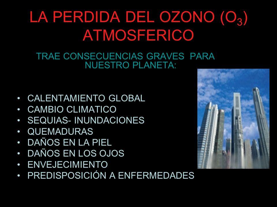 LA PERDIDA DEL OZONO (O 3 ) ATMOSFERICO TRAE CONSECUENCIAS GRAVES PARA NUESTRO PLANETA: CALENTAMIENTO GLOBAL CAMBIO CLIMATICO SEQUIAS- INUNDACIONES QU