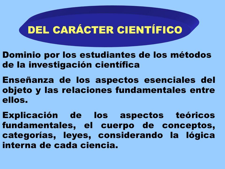 Principios didácticos DEL CARÁCTER CIENTÍFICO. DE LA SISTEMATICIDAD. DE LA VINCULACIÓN DE LO CONCRETO Y LO ABSTRACTO. DE LA SOLIDEZ DE LOS CONOCIMIENT