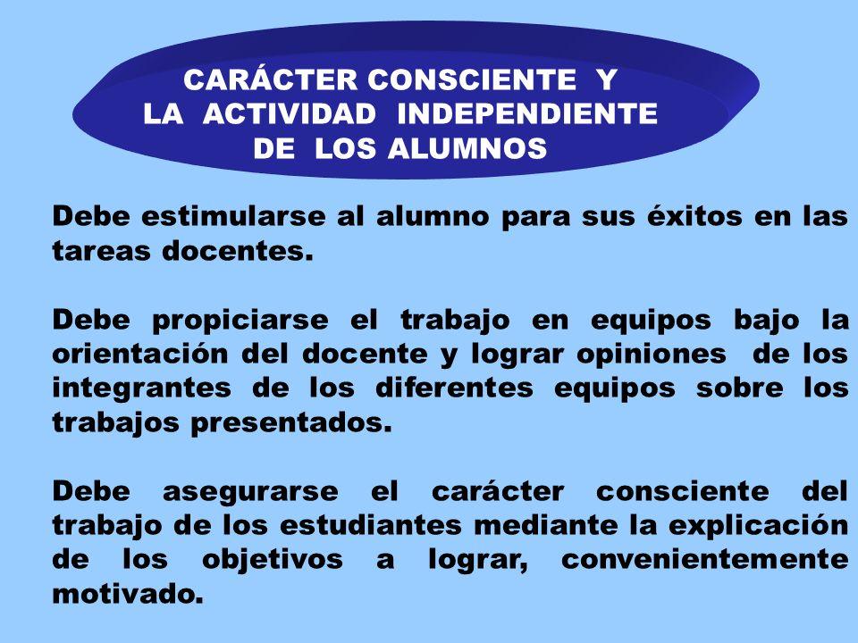 CARÁCTER CONSCIENTE Y LA ACTIVIDAD INDEPENDIENTE DE LOS ALUMNOS La actividad del docente debe estar encaminada hacia el logro de condiciones que propi