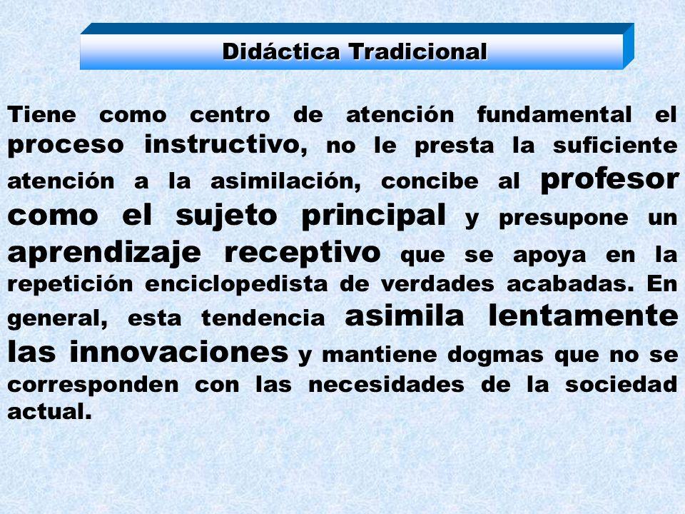 Tendencias para explicar el aprendizaje y su relación con el desarrollo Didáctica Tradicional EscuelaCrítica Escuela Nueva Nueva Tecnológica