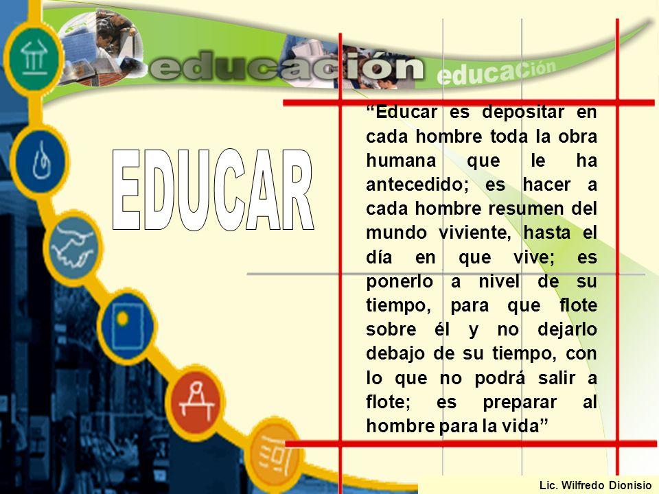 Que se da en forma EDUCACIÓN Proceso de formación socio cultural Es un Permanente Formación holística de la persona Sociedad Educación no formal Educa