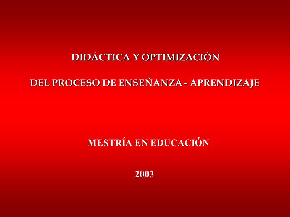 DIDÁCTICA Y OPTIMIZACIÓN DEL PROCESO DE ENSEÑANZA - APRENDIZAJE MESTRÍA EN EDUCACIÓN 2003