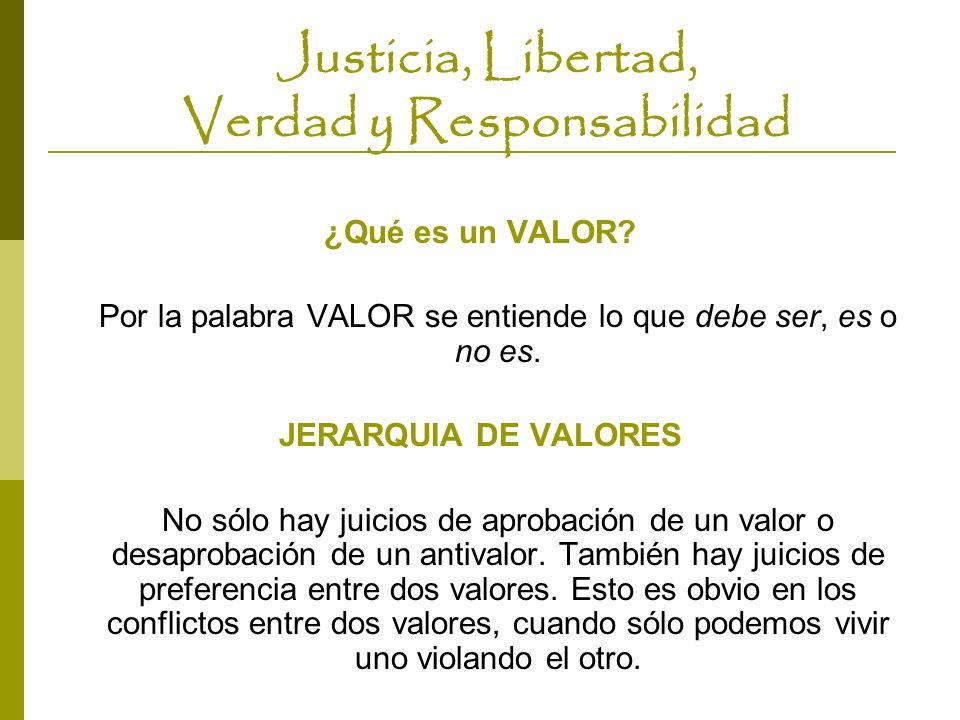 Justicia, Libertad, Verdad y Responsabilidad ¿Qué es un VALOR? Por la palabra VALOR se entiende lo que debe ser, es o no es. JERARQUIA DE VALORES No s