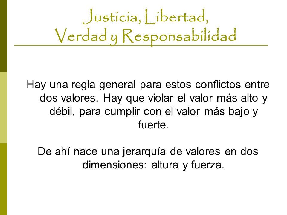Justicia, Libertad, Verdad y Responsabilidad Hay una regla general para estos conflictos entre dos valores. Hay que violar el valor más alto y débil,