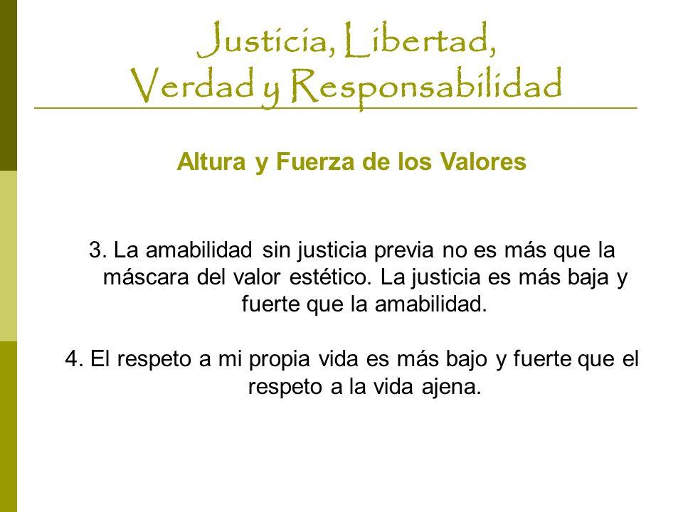 Justicia, Libertad, Verdad y Responsabilidad Altura y Fuerza de los Valores 3. La amabilidad sin justicia previa no es más que la máscara del valor es