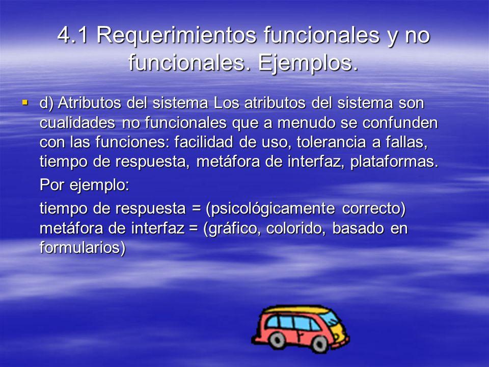d) Atributos del sistema Los atributos del sistema son cualidades no funcionales que a menudo se confunden con las funciones: facilidad de uso, tolerancia a fallas, tiempo de respuesta, metáfora de interfaz, plataformas.
