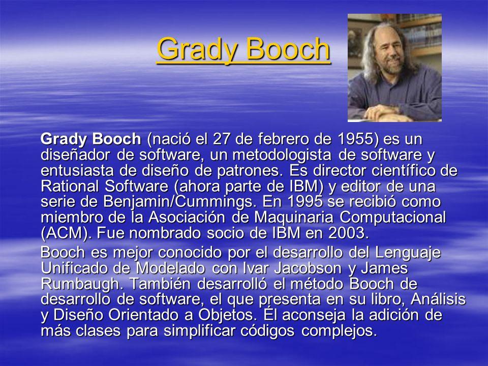 Grady Booch Grady Booch Grady Booch (nació el 27 de febrero de 1955) es un diseñador de software, un metodologista de software y entusiasta de diseño de patrones.