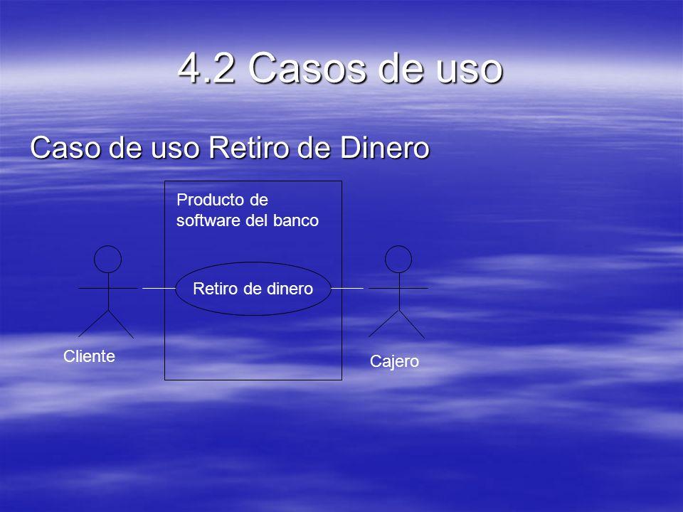 4.2 Casos de uso Caso de uso Retiro de Dinero Retiro de dinero Producto de software del banco Cliente Cajero