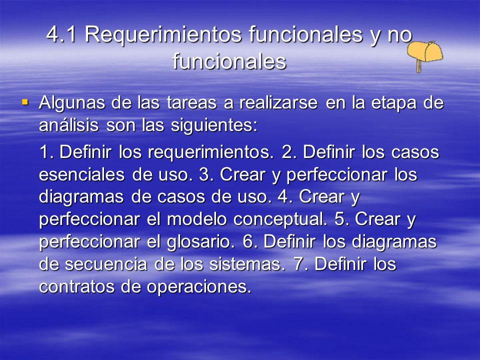 4.1 Requerimientos funcionales y no funcionales Algunas de las tareas a realizarse en la etapa de diseño son las siguientes: Algunas de las tareas a realizarse en la etapa de diseño son las siguientes: 1.