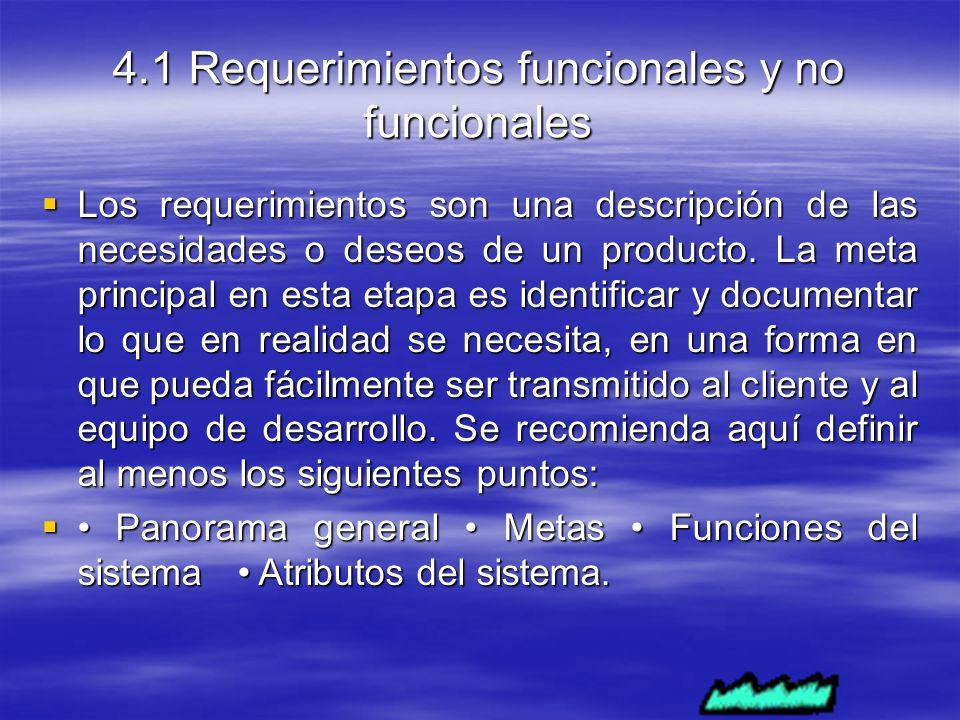 4.1 Requerimientos funcionales y no funcionales Los requerimientos son una descripción de las necesidades o deseos de un producto.