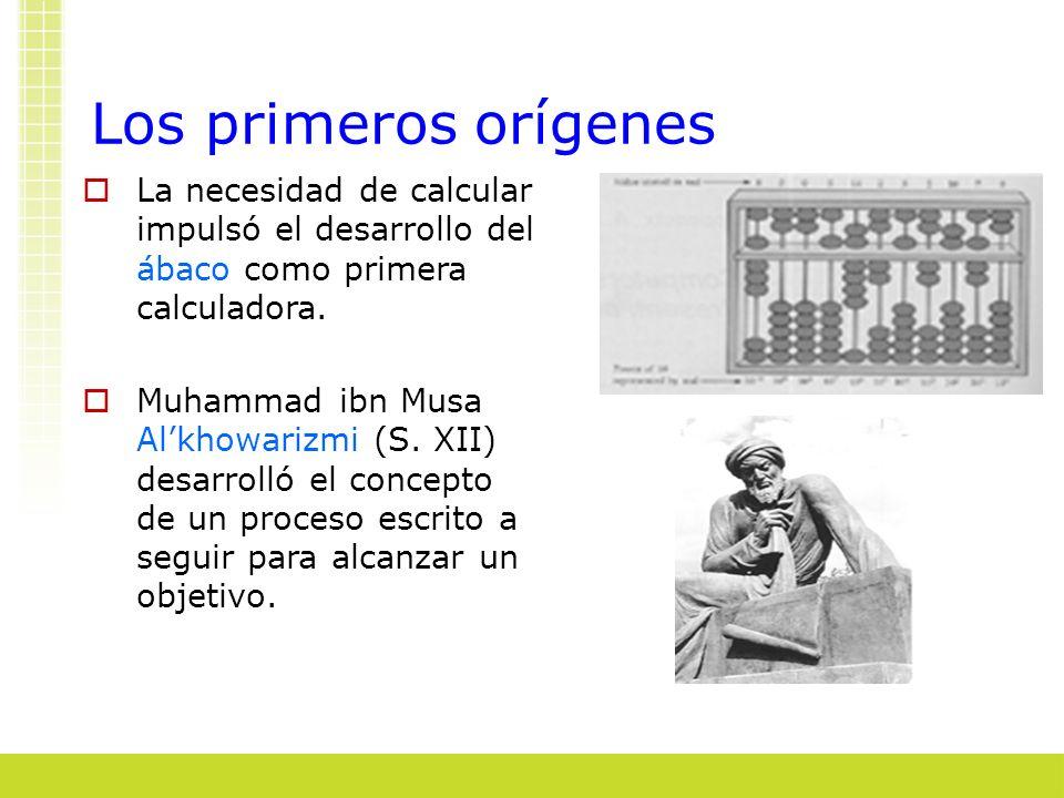 Los primeros orígenes La necesidad de calcular impulsó el desarrollo del ábaco como primera calculadora. Muhammad ibn Musa Alkhowarizmi (S. XII) desar
