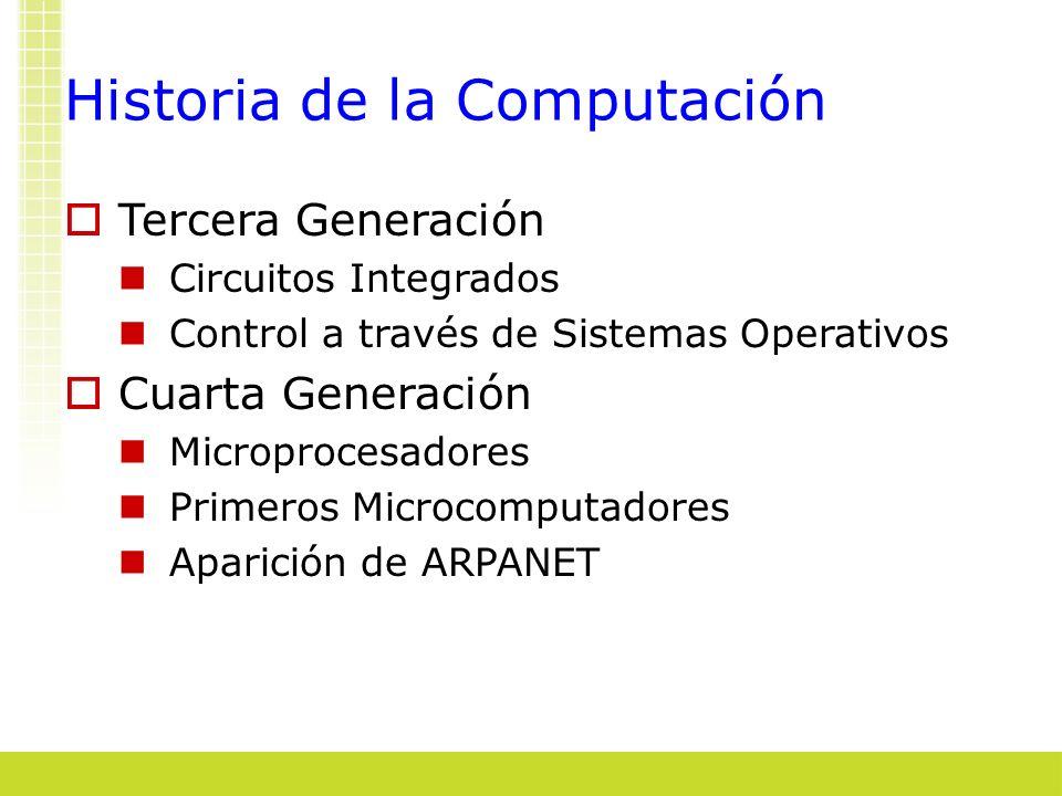 Historia de la Computación Tercera Generación Circuitos Integrados Control a través de Sistemas Operativos Cuarta Generación Microprocesadores Primero