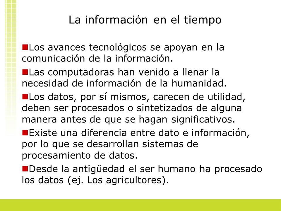 La información en el tiempo Los avances tecnológicos se apoyan en la comunicación de la información. Las computadoras han venido a llenar la necesidad