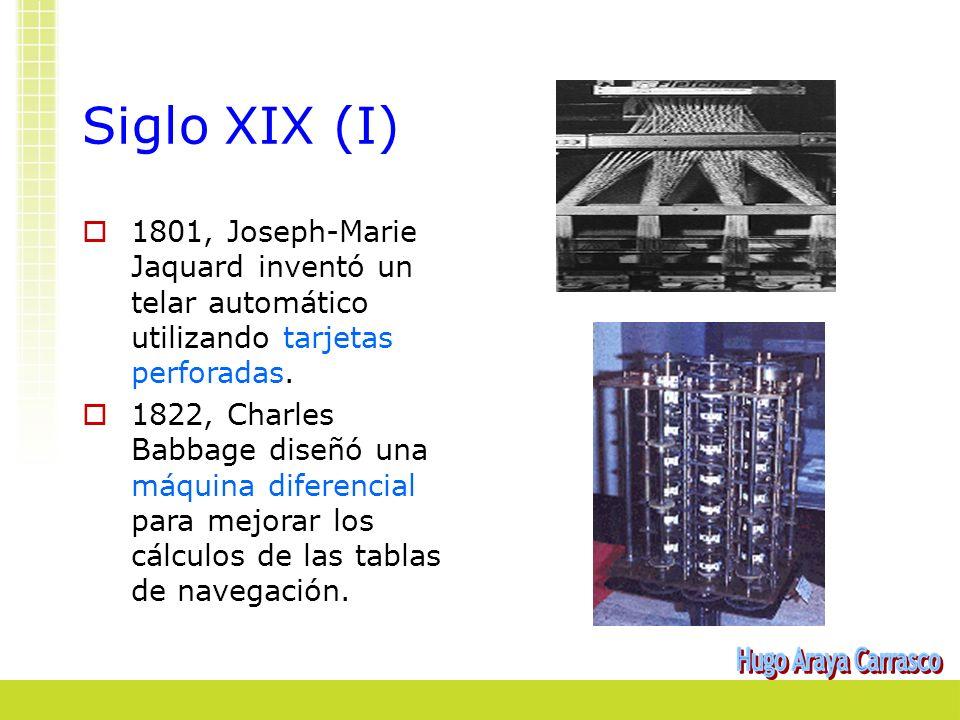 Siglo XIX (I) 1801, Joseph-Marie Jaquard inventó un telar automático utilizando tarjetas perforadas. 1822, Charles Babbage diseñó una máquina diferenc