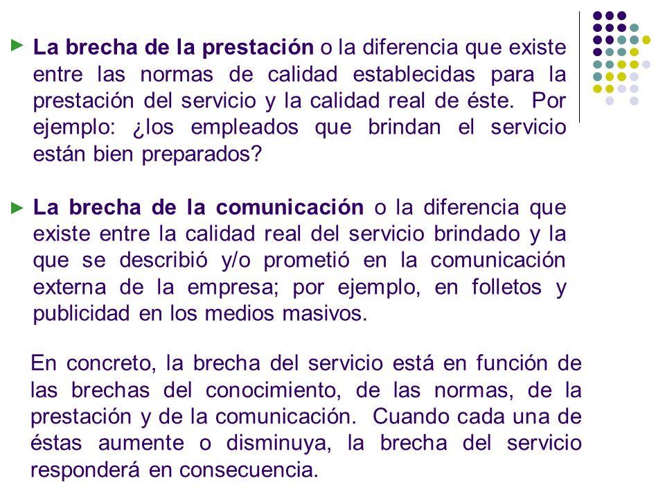La brecha de la prestación o la diferencia que existe entre las normas de calidad establecidas para la prestación del servicio y la calidad real de és