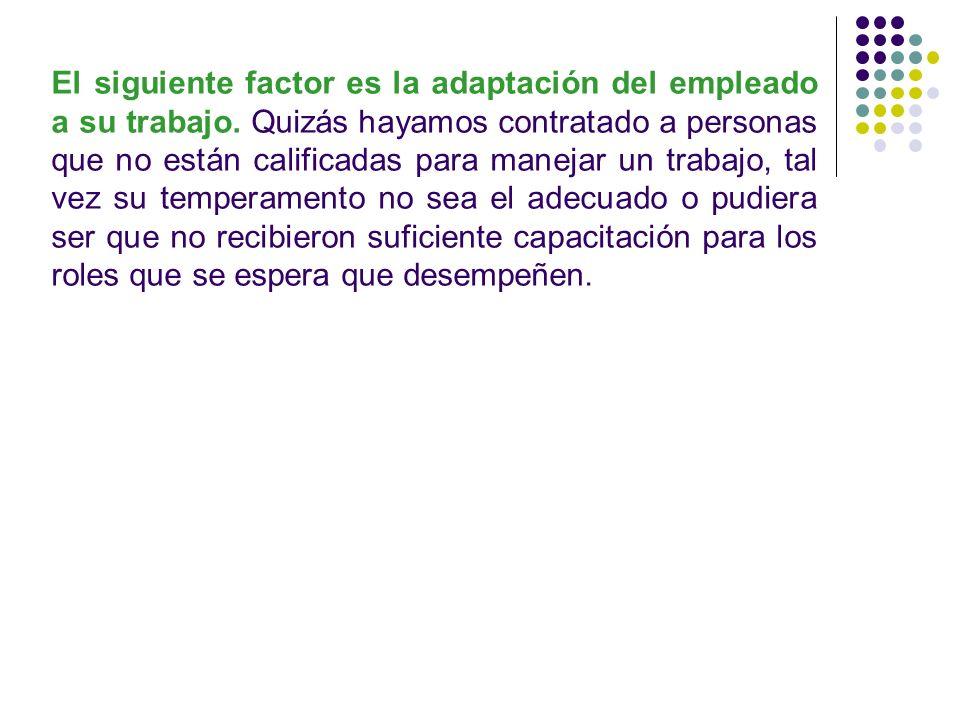 El siguiente factor es la adaptación del empleado a su trabajo. Quizás hayamos contratado a personas que no están calificadas para manejar un trabajo,