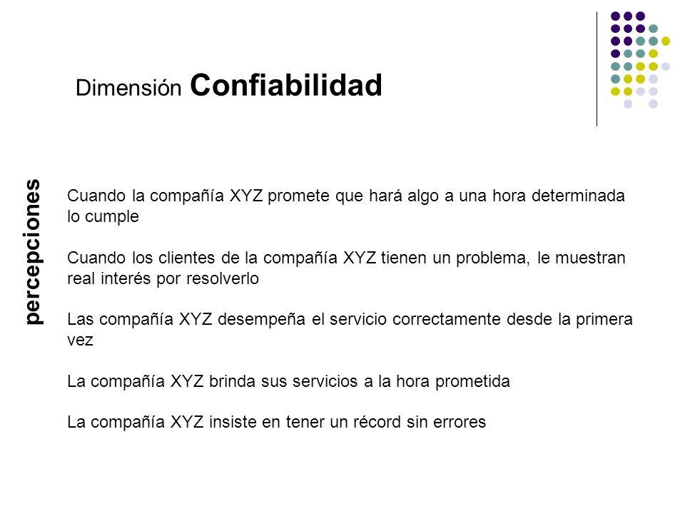 Dimensión Confiabilidad Cuando la compañía XYZ promete que hará algo a una hora determinada lo cumple Cuando los clientes de la compañía XYZ tienen un