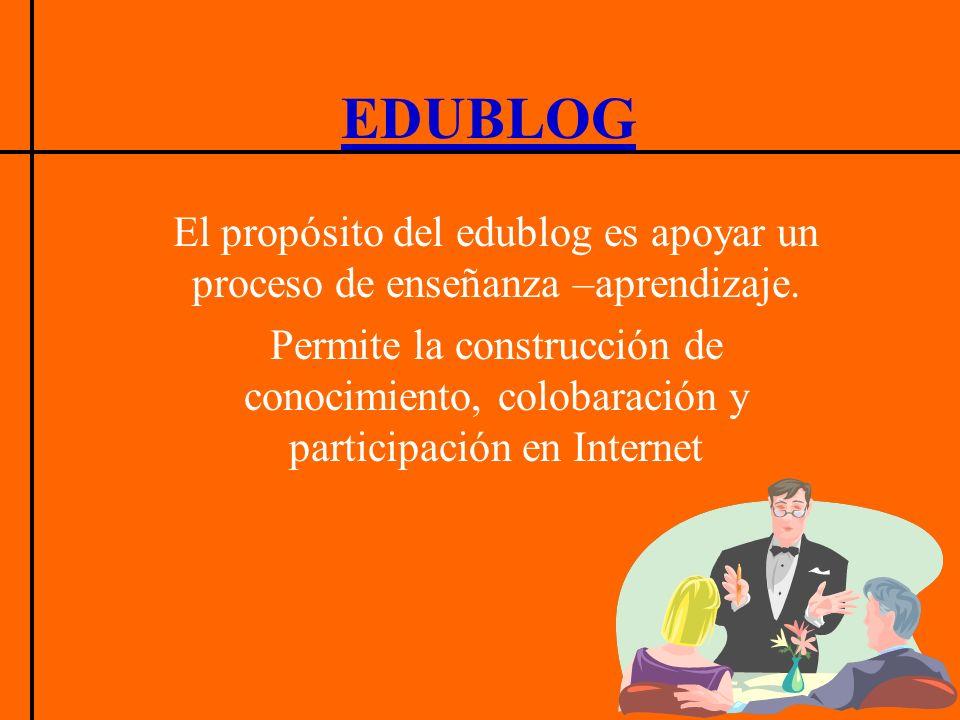 El propósito del edublog es apoyar un proceso de enseñanza –aprendizaje. Permite la construcción de conocimiento, colobaración y participación en Inte