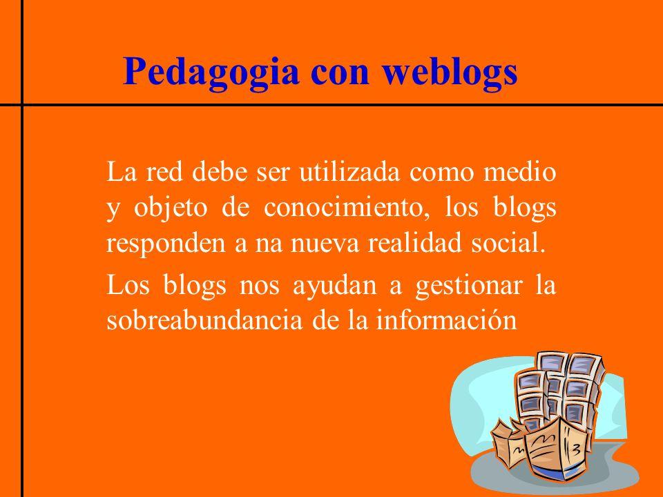 Pedagogia con weblogs La red debe ser utilizada como medio y objeto de conocimiento, los blogs responden a na nueva realidad social. Los blogs nos ayu