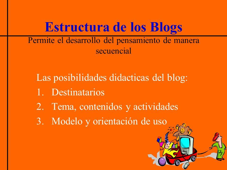 Estructura de los Blogs Permite el desarrollo del pensamiento de manera secuencial Las posibilidades didacticas del blog: 1.Destinatarios 2.Tema, contenidos y actividades 3.Modelo y orientación de uso