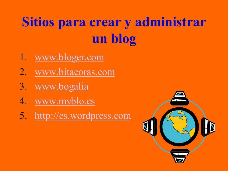 Sitios para crear y administrar un blog 1.www.bloger.comwww.bloger.com 2.www.bitacoras.comwww.bitacoras.com 3.www.bogaliawww.bogalia 4.www.myblo.eswww