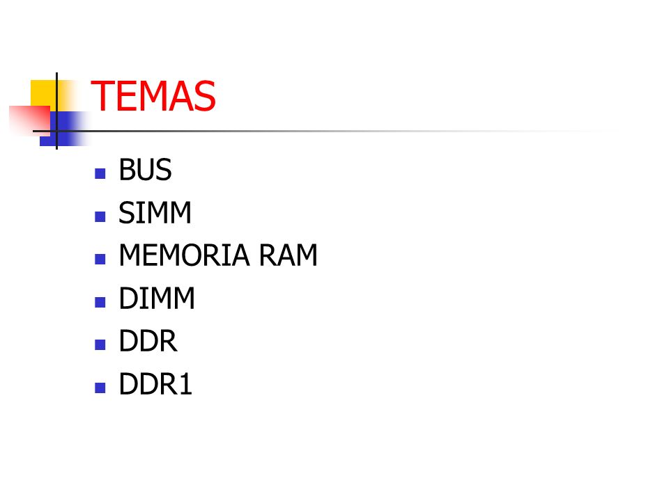 TEMAS BUS SIMM MEMORIA RAM DIMM DDR DDR1