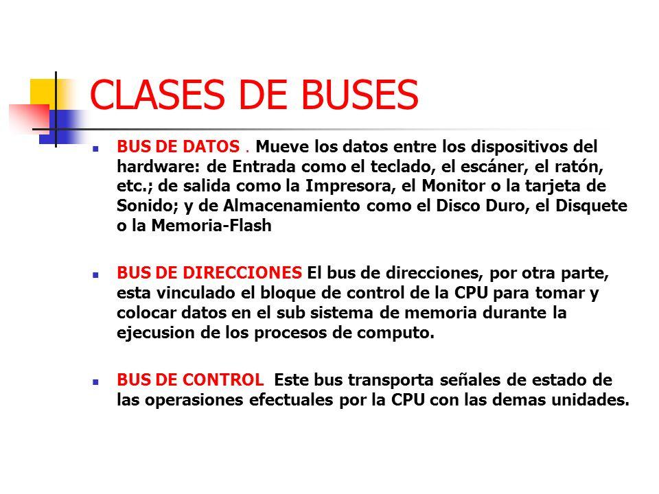 CLASES DE BUSES BUS DE DATOS. Mueve los datos entre los dispositivos del hardware: de Entrada como el teclado, el escáner, el ratón, etc.; de salida c