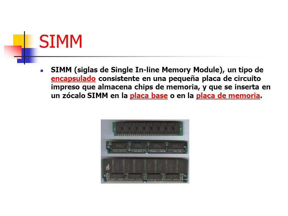 SIMM SIMM (siglas de Single In-line Memory Module), un tipo de encapsulado consistente en una pequeña placa de circuito impreso que almacena chips de