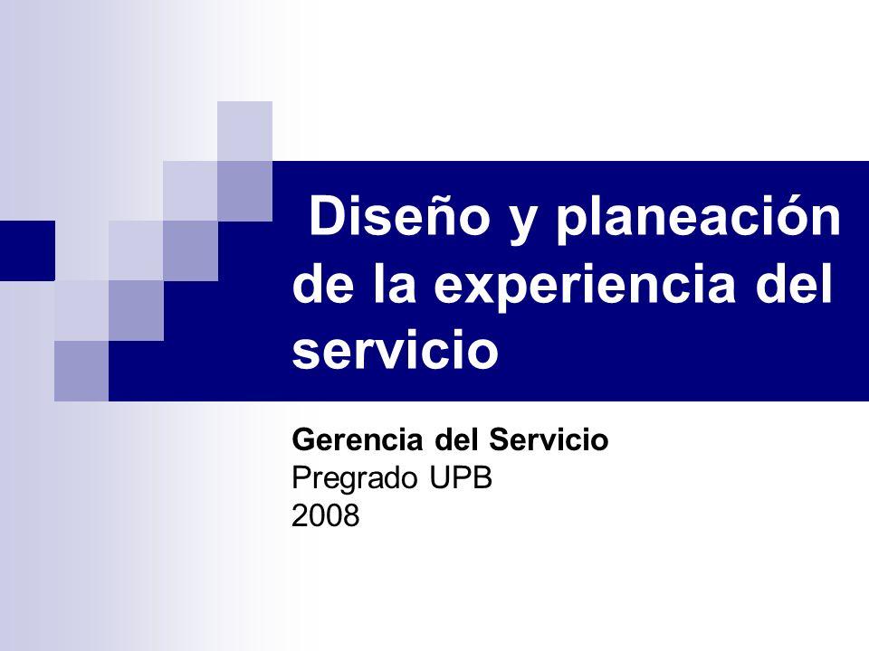 Diseño y planeación de la experiencia del servicio Gerencia del Servicio Pregrado UPB 2008