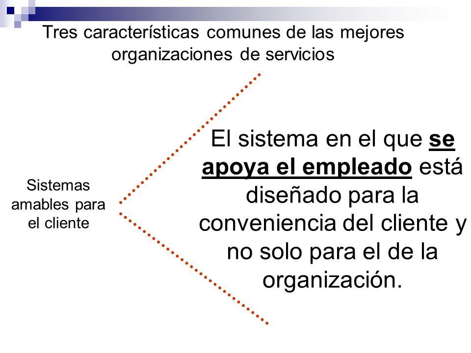 Tres características comunes de las mejores organizaciones de servicios Sistemas amables para el cliente El sistema en el que se apoya el empleado est